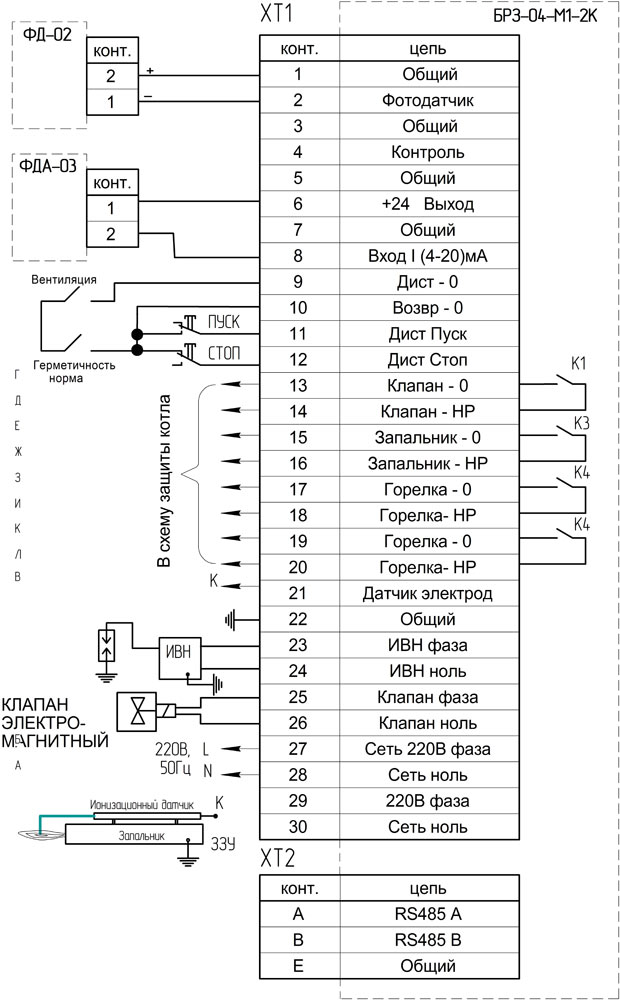 Схема подключения БРЗ-04-М1-2К