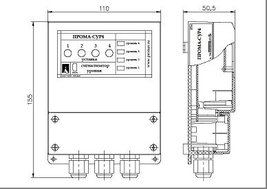 Сигнализатор уровня СУР-4 габаритные размеры