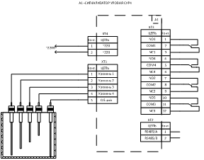 Схема внешних соединений сигнализатора уровня 4х канального СУР4