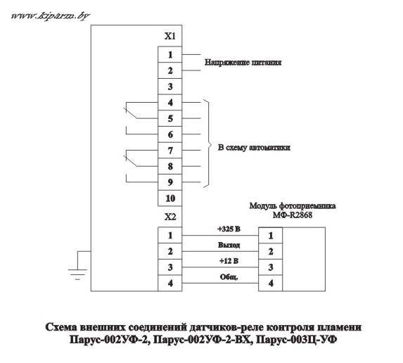 Схема подключения датчиков