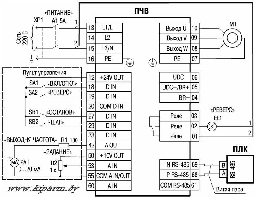 Преобразователи частоты ПЧВ1 и ПЧВ2 схема подключения