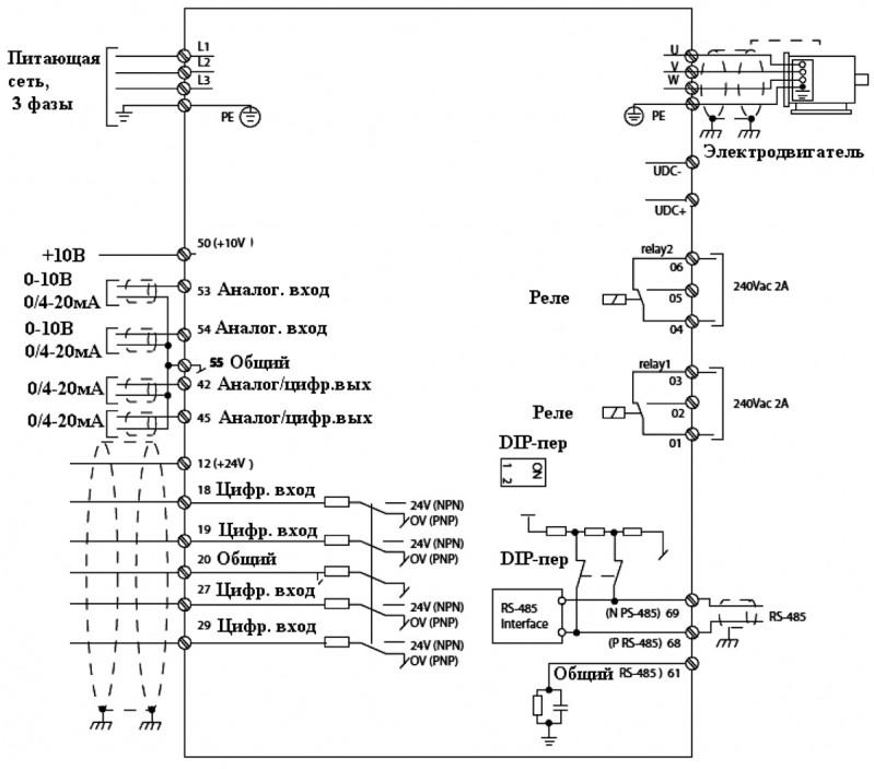 Схема подключения ОВЕН ПЧВ3